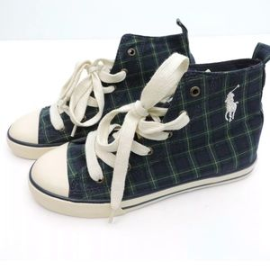Youth Ralph Lauren Plaid High Top Shoes